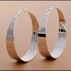 Jewelry - LARGE STERLING SILVER PLATED CLASSIC HOOP EARRINGS